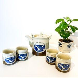 VINTAGE Hand Painted Japanese Stone Tea Pot Set